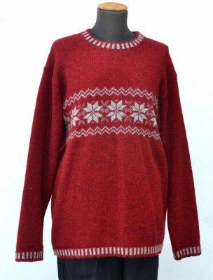 Röd stickad ekologisk tröja från Ullcentrum